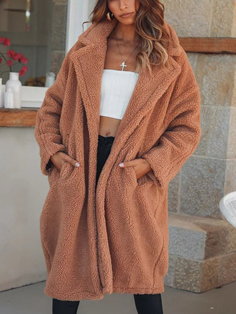 Coffee Casual Turn-down Collar Faux fur Pockets Solid Long Sleeve Coat