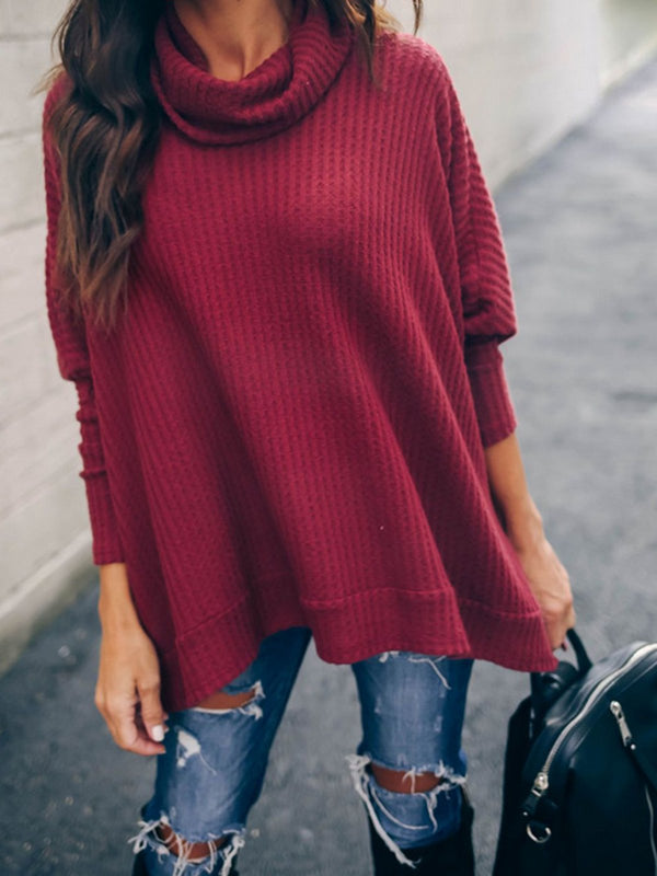 4 Colors Elegant Turtle Neck Paneled Knit Wear Sweaters