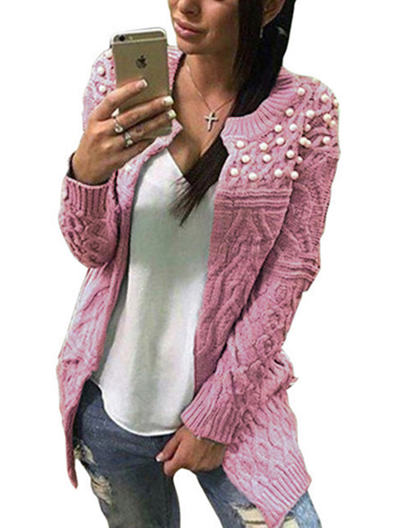 Knitted Crew Neck Long Sleeve Cardigans