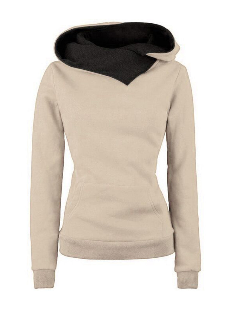 Pockets Long Sleeve Cowl Neck Solid Hoodies