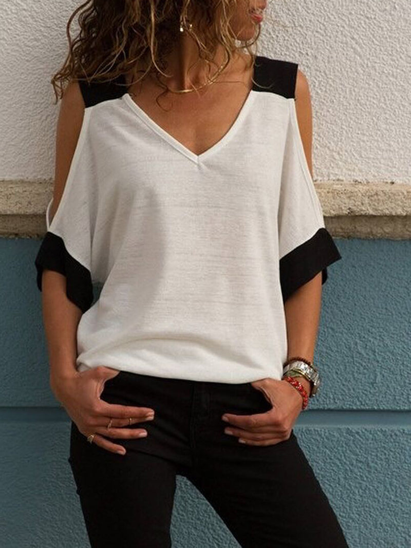 White Casual  V-Neck T-Shirt