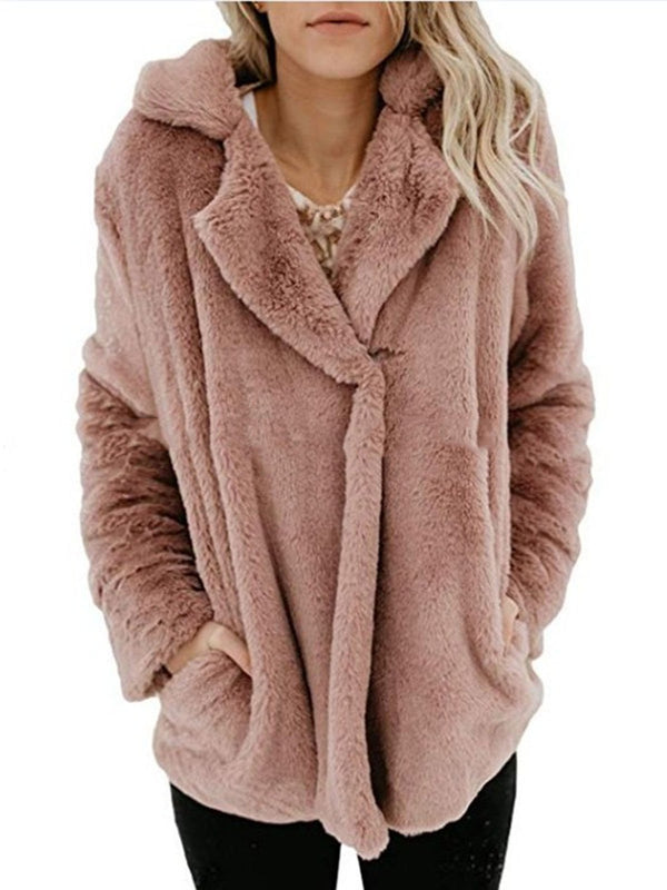 Long Sleeve Solid Casual Fluffy Cashmere Coat