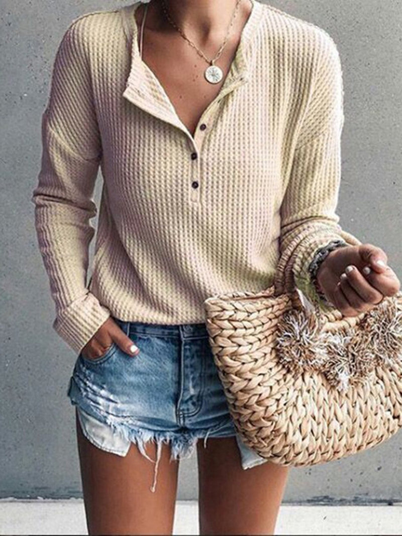 Casual Patchwork Round Neck Long Sleeve Blouses