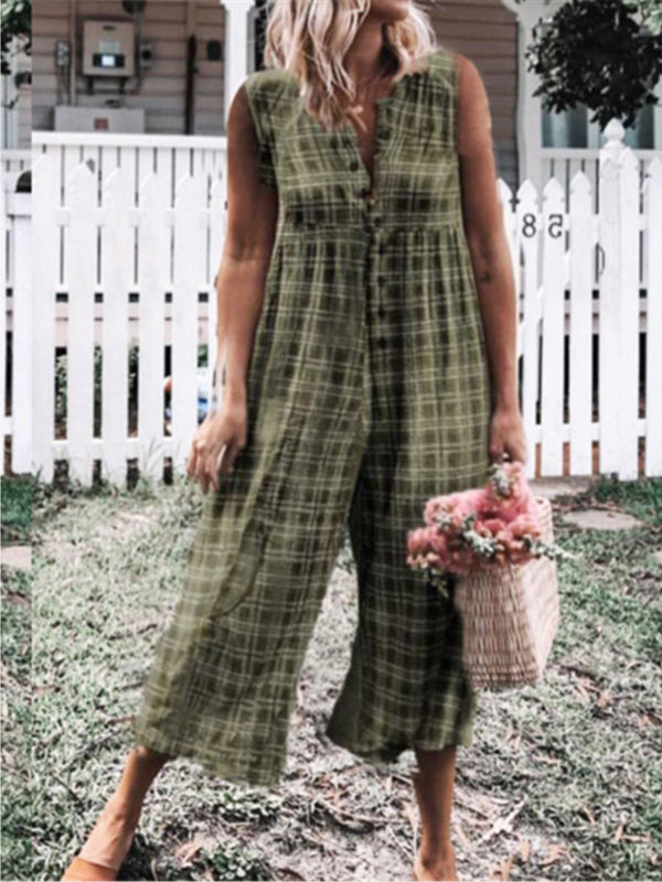 Checkered Sleeveless Buttoned Casual Jumpsuits