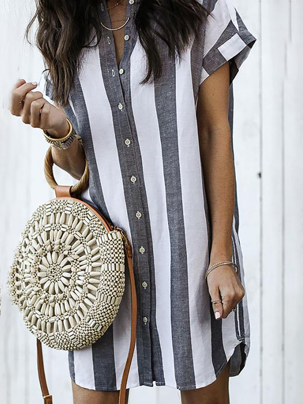 Short Sleeve Stripes Casual Mini Dress