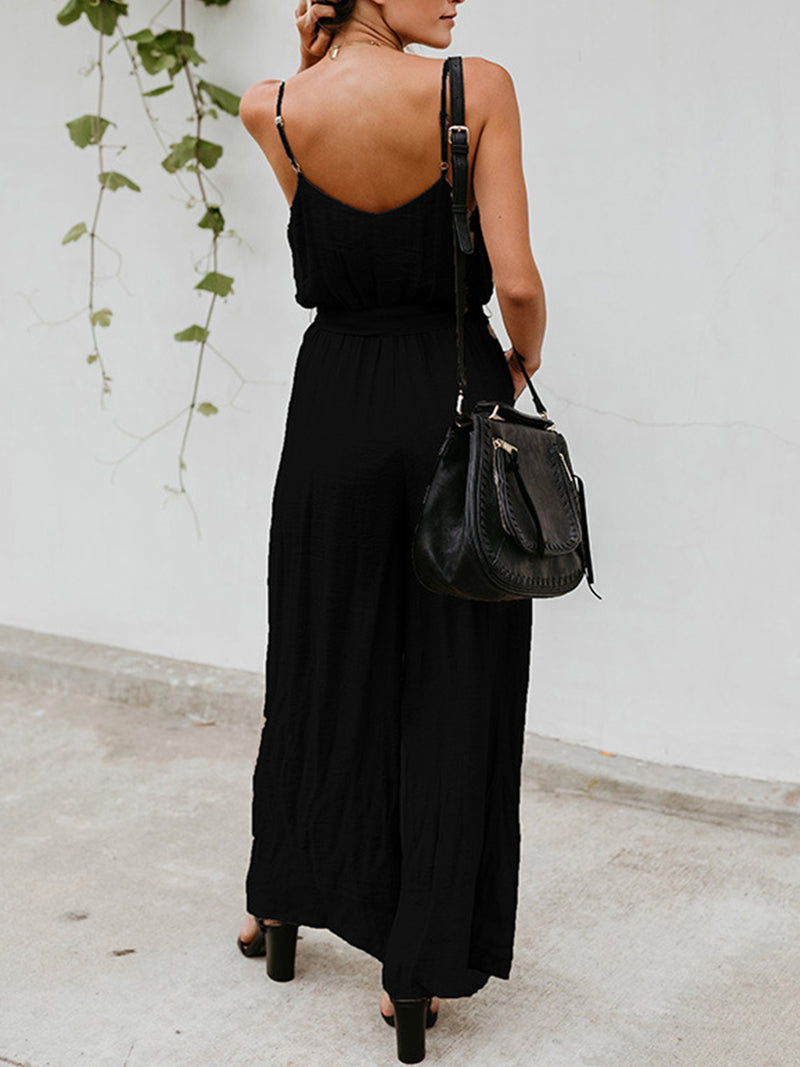 Holiday Spaghetti Strap Wide Leg Jumpsuits
