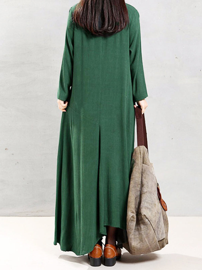 Crew Neck Shift Long Sleeve Casual Dress