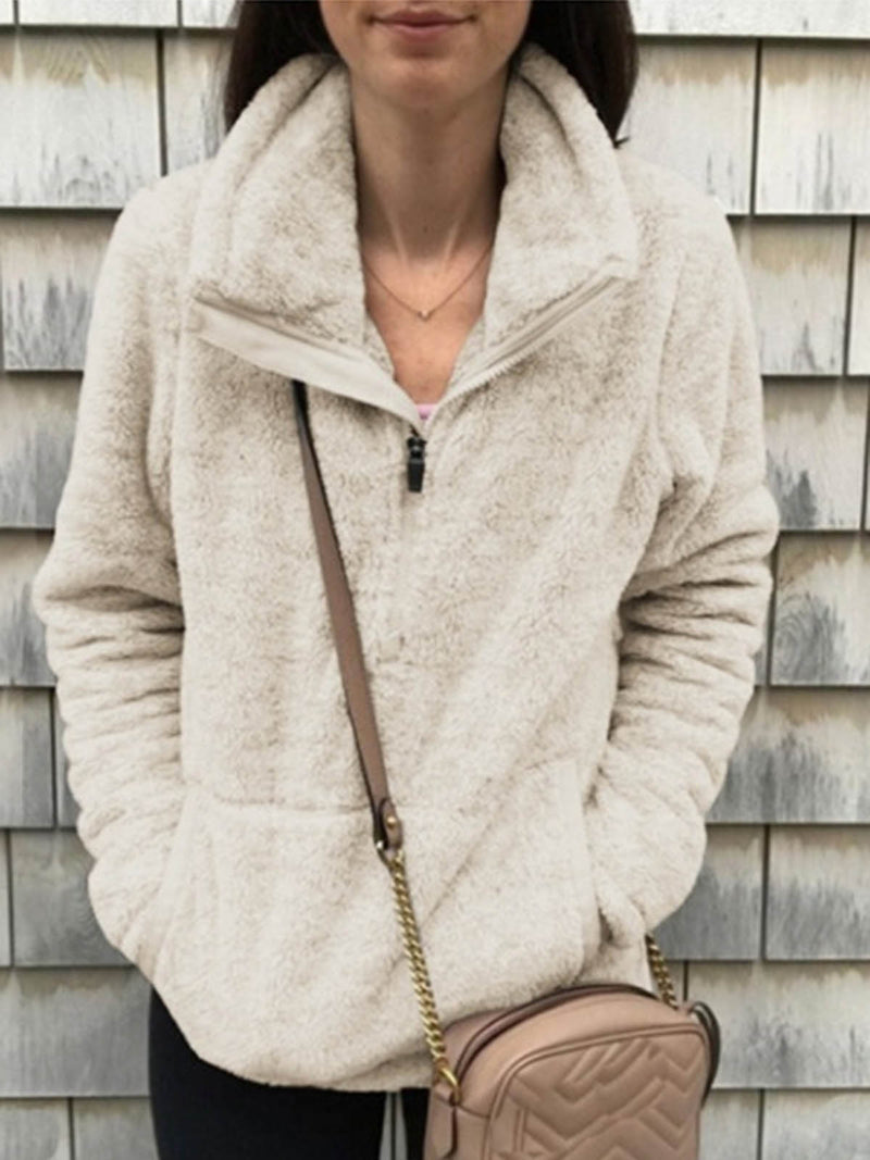 Fuzzy Casual Turtleneck Pockets Zipper-Up Fall&Winter Sweatshirts