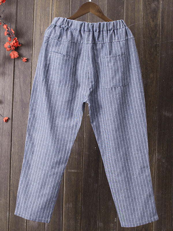Plus Size Striped Casual Pants