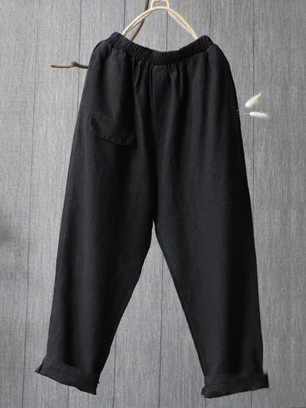 CASUAL COTTON POCKETS PLUS SIZE PANTS