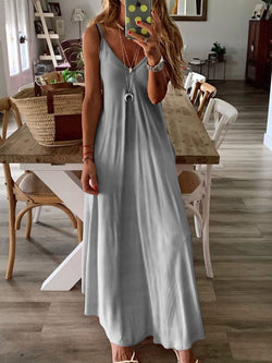 Gray V Neck Sleeveless Cotton Dresses