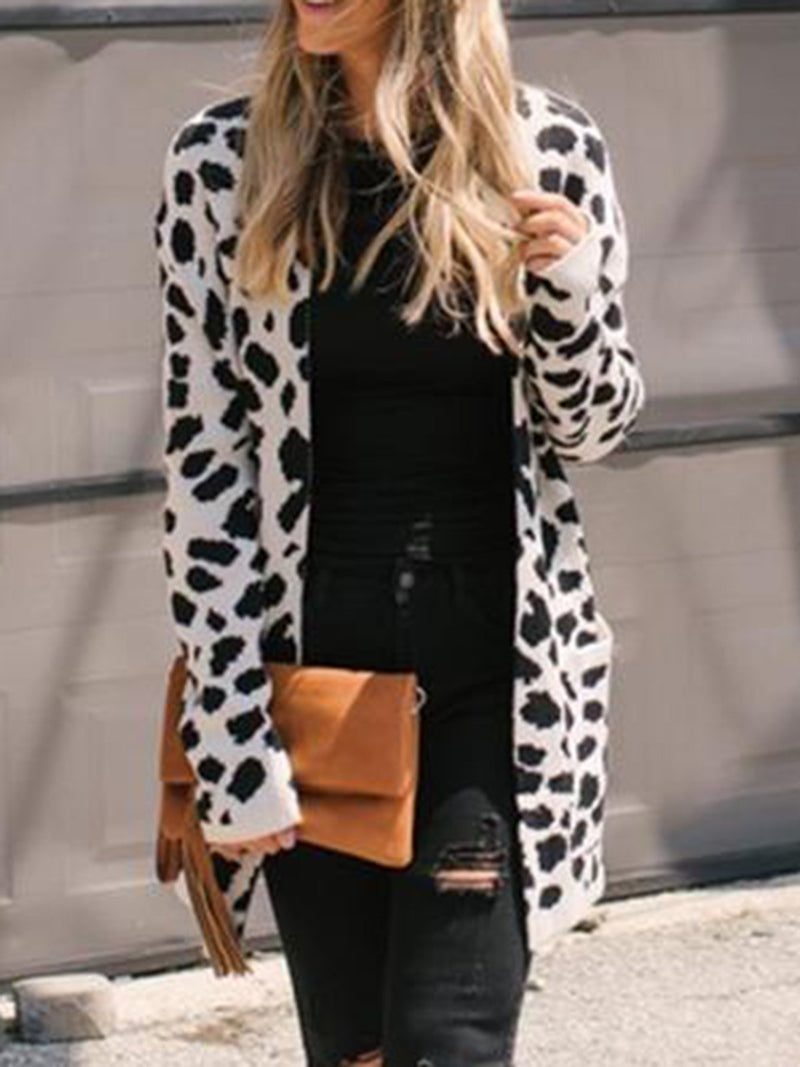 Apricot Leopard Print Long Sleeve Knitted Cardigans