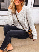 Light Gray Solid Long Sleeve Simple & Basic Crew Neck Sweaters