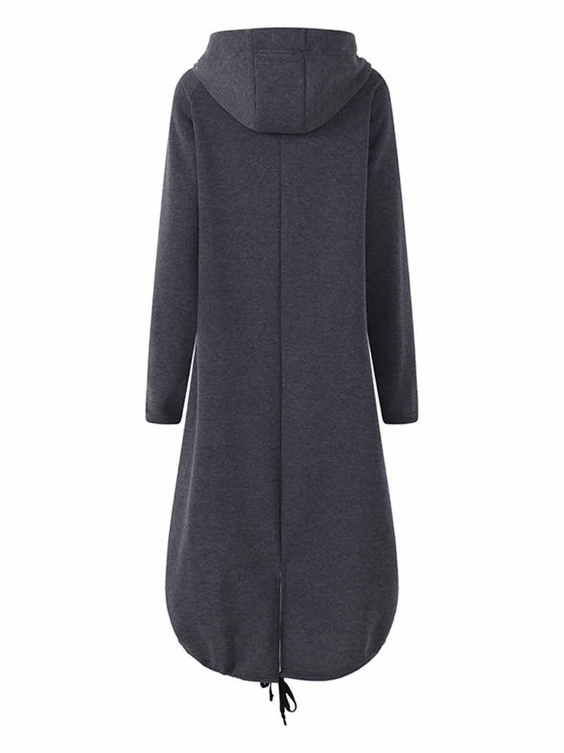 Hooded Sweatshirt Dress Zipper Asymmetrisch Long Jacke Coat