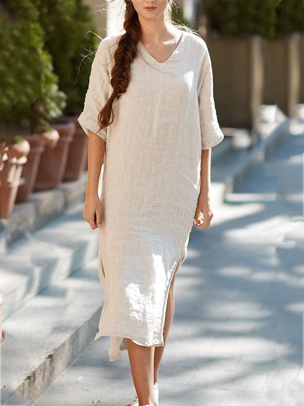 Casual Half Sleeve Solid V Neck Dresses
