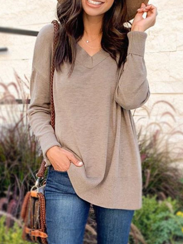 Khaki Long Sleeve V Neck Cotton-Blend Shirts & Tops