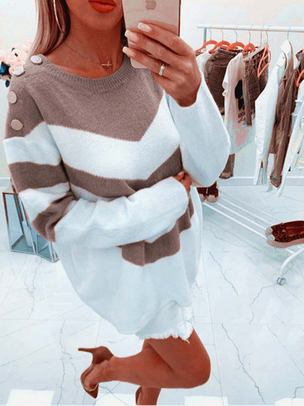 Button Decor Long Sleeve Striped Sweaters Dresses
