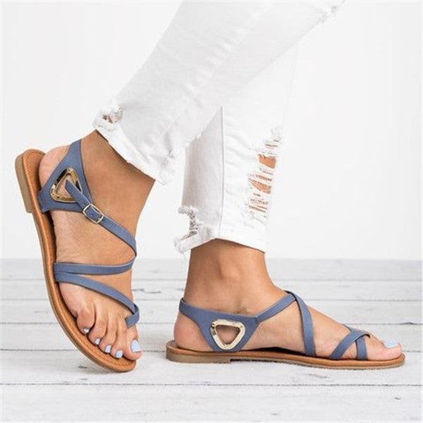 Women Casual Gladiator Buckle Strap Flat Sandals