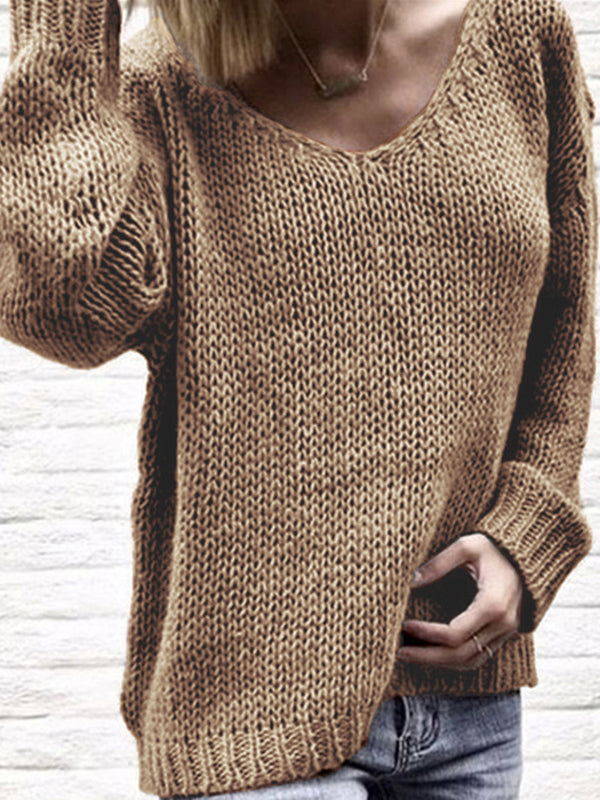 Casual Long Sleeve Knitted Plain Sweaters