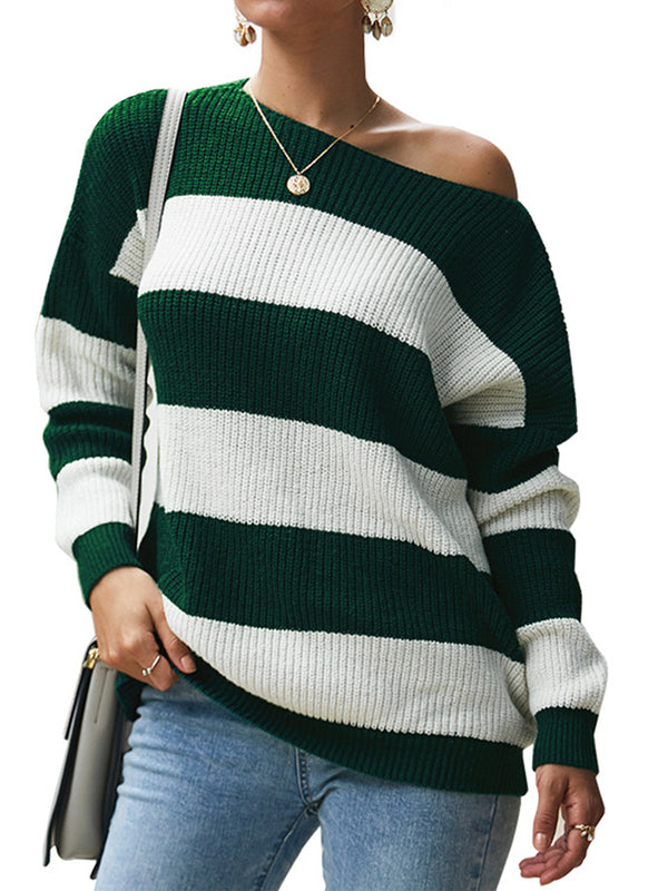 Crew Neck Knitted Striped Sweaters