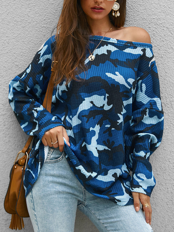 Crew Neck Floral-Print Camo Casual T-Shirts