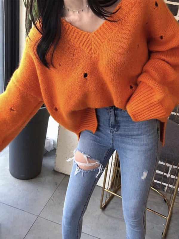 Casual Long Sleeve V Neck Knitted Sweaters