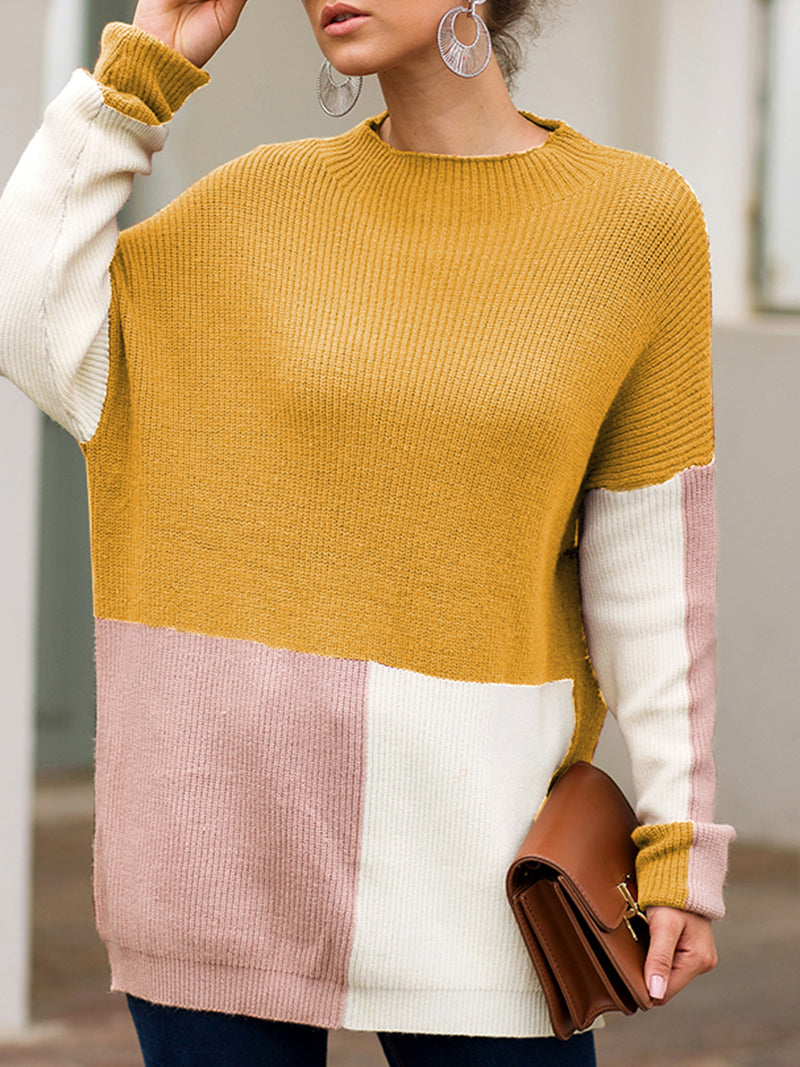 Long Sleeve Knitted Crew Neck Color -block Sweaters