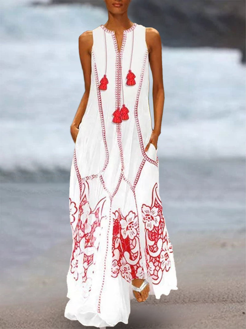 Women Maxi Dress Slightly stretchy White Printed Holiday Long