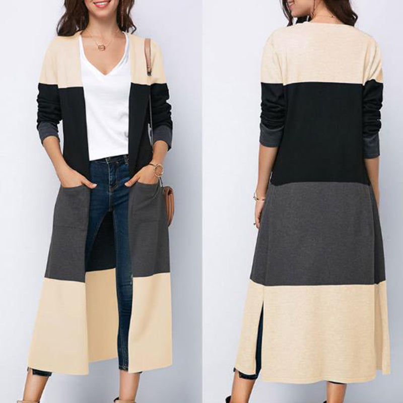 Fashion Round Neck Long Sleeve Cardigan