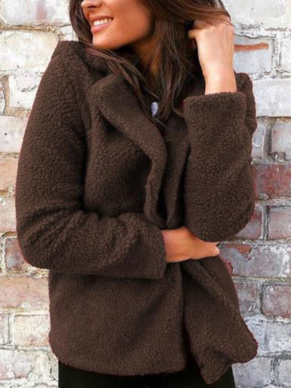Solid Lapel Casual Slim Long Sleeve Coat