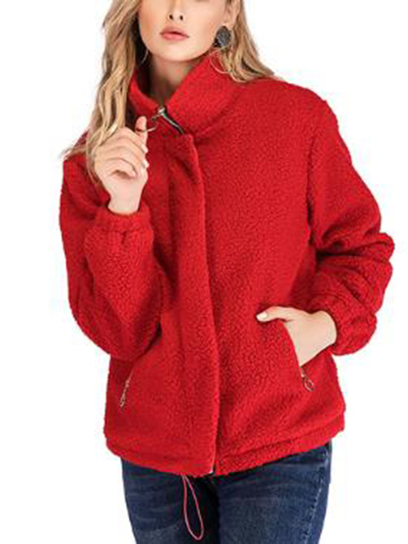 Solid Color Zipper Casual Stand Collar Coat