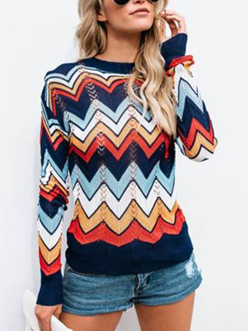 Casual Striped Crew Neck Sweater