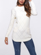 Pockets Round Neck Vintage Long Sleeve Cotton Casual Sweaters