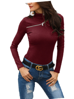 Casual Long Sleeve Solid Turtleneck Sweaters