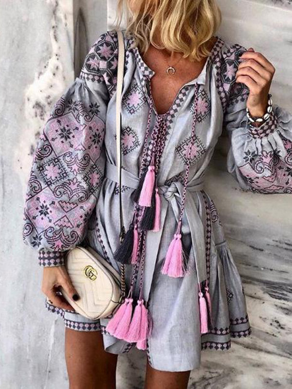 Gray A-Line Balloon Sleeve Floral Holiday Tribal Dress