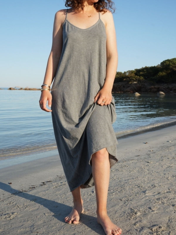 Gray Casual Solid Sleeveless Dresses