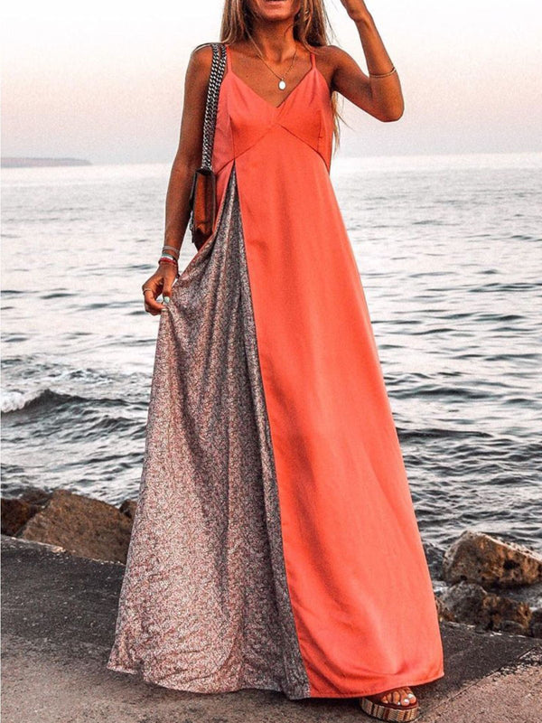 Orange Sleeveless V Neck Casual Maxi Dresses
