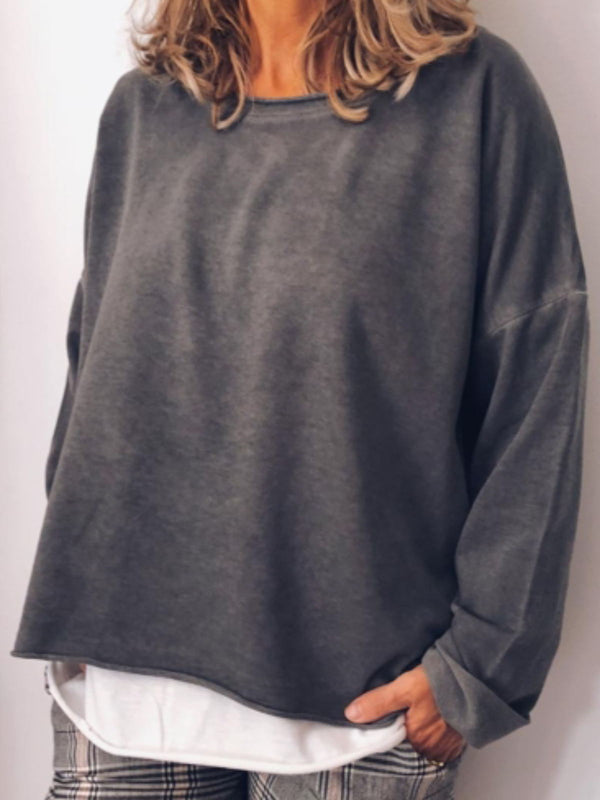 Plus Size Casual Solid  Crew Neck Long Sleeve Tops