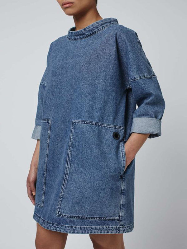 Casual Pockets Long Sleeve Denim Dresses