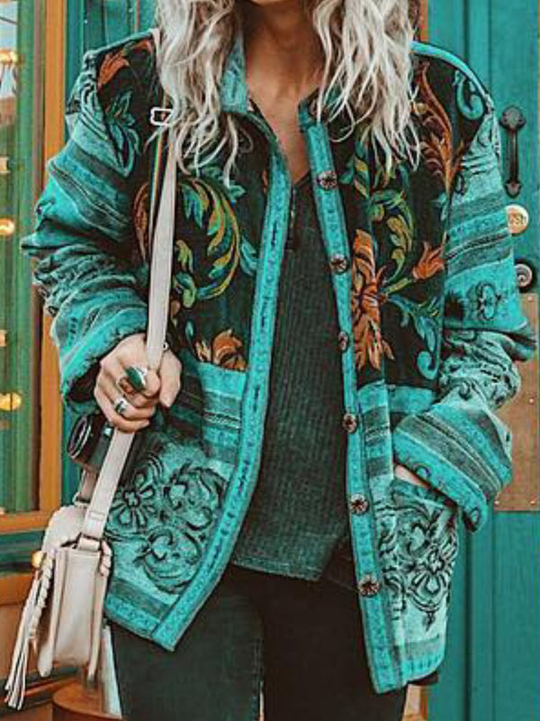 Casual Shift Floral Floral-Print Buttoned Outerwear
