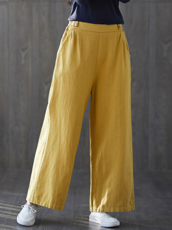 Women Solid Paneled Sweet Linen&cotton Pants