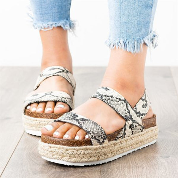 Women's Casual Comfy Open Toe Platform Espadrille Sandals