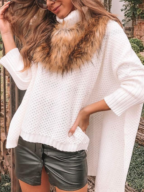 Turtleneck Casual Long Sleeve Asymmetric Sweater