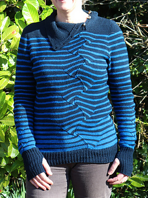 Blue Wool Blend Casual Sweater