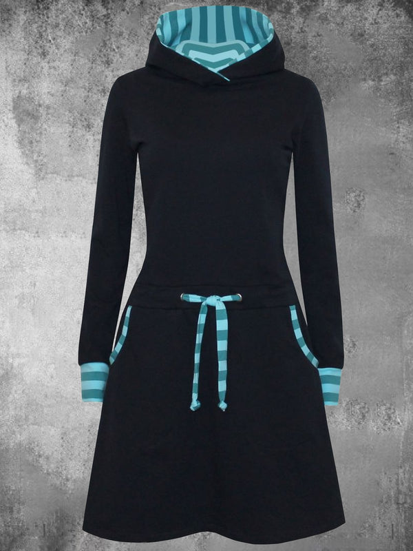 Striped Paneled Hooded Women's Midi Dresses