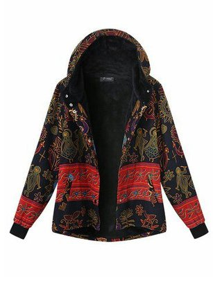 Printed Hoodie Long Sleeve Casual Coat
