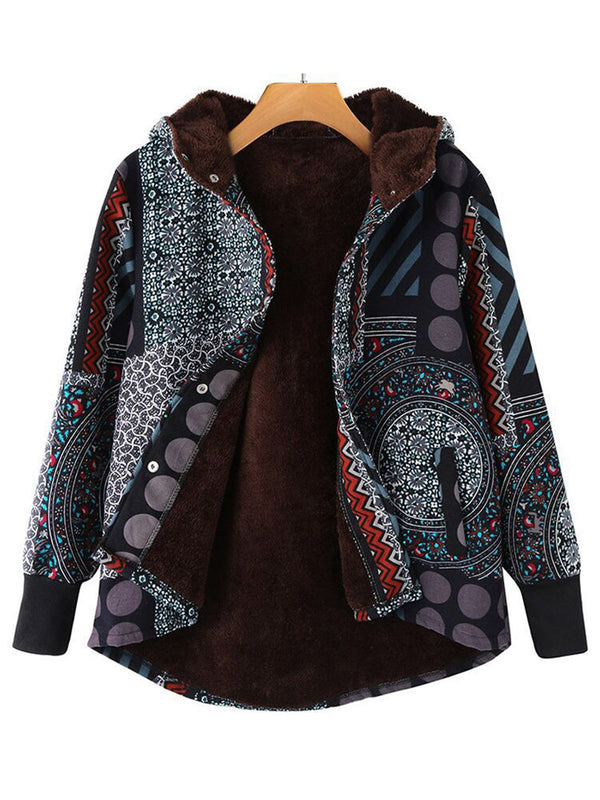 Cozy Hoodie Printed Long Sleeve Tribal Teddy Bear Coats