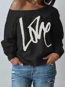 Womens Round Neck LOVE Printed Hoodie