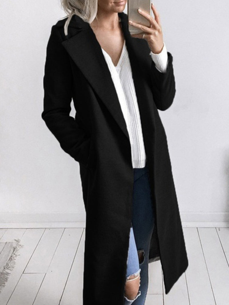 Turn-down Collar Pockets Solid Casual Winter Coat