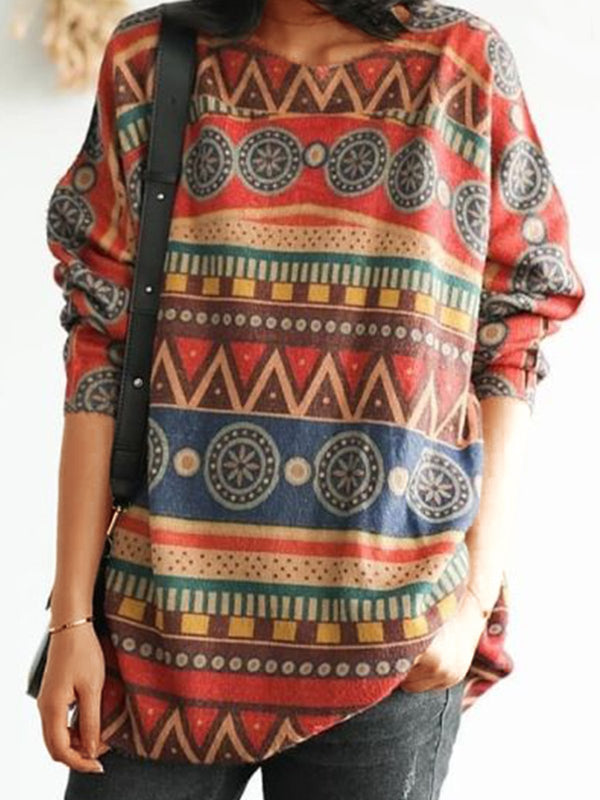 Multicolor Plus Size Long Sleeve Statement Printed Casual Abstract Sweatshirt